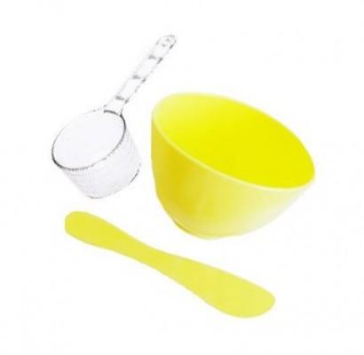Набор для ухода за кожей лица: миска, шпатель, мерная ложка LINDSAY Pack tools rubber bowl, spatula, measuring cup: фото