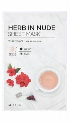 Маска тканевая с Каркаде MISSHA Herb In Nude Sheet Mask Vitality Care: фото