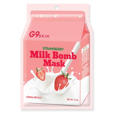 Маска для лица тканевая Berrisom G9 SKIN MILK BOMB MASK-Strawberry 21мл: фото