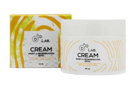 Крем для лица МУЦИН УЛИТКИ D2 Lab CREAM MOIST & REGENERATION SNAIL 50 мл: фото