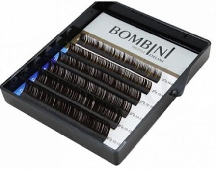 Ресницы Bombini Truffle Темно-коричневые, 6 линий, изгиб D+ mini-MIX 8-13 0.07: фото