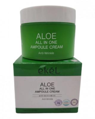 Ампульный крем для лица с экстрактом алоэ Ekel All In One Ampoule Cream ALOE 50г: фото