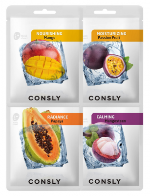 Набор тканевых масок Consly Сила тропических фруктов 4 шт: фото